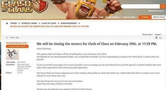 Game Clash of Clans Akan Ditutup 29 Februari Nanti 1
