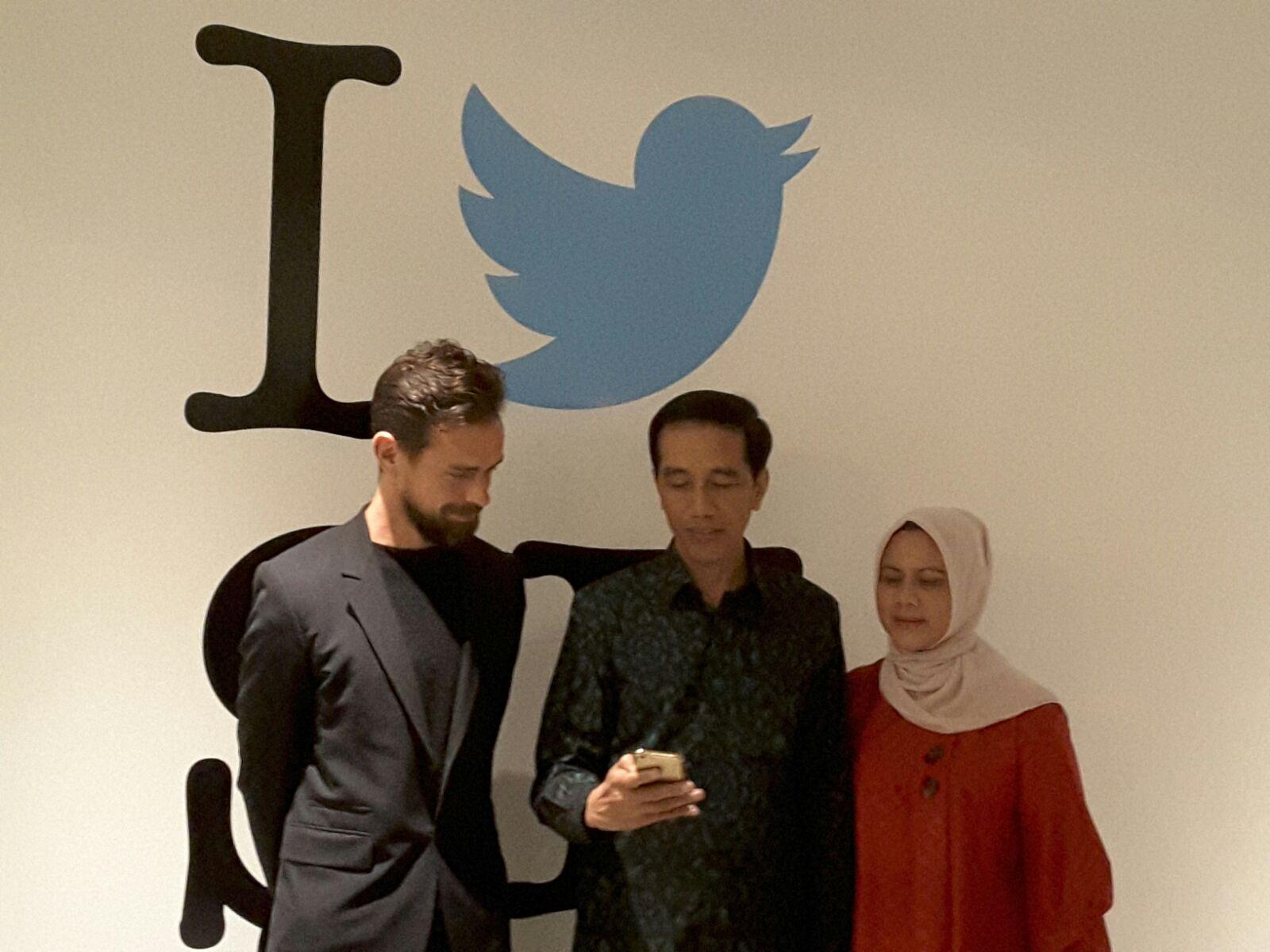 Presiden Joko Widodo, Iriana Joko Widodo, Jack Dorsey, Twitter