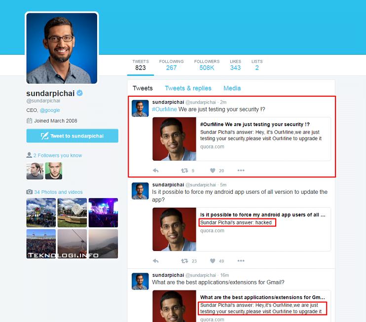 Akun Quora Sundar Pichai CEO Google diretas