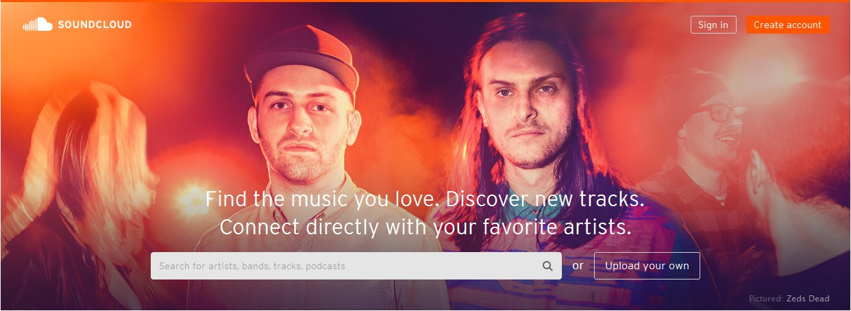 Tampilan Utama Website SoundCloud