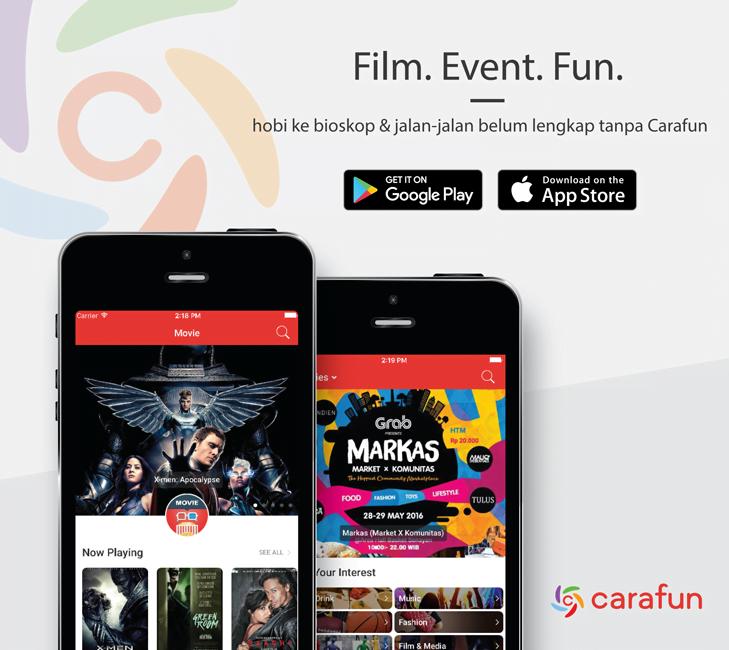 Carafun, Tiket Bioskop, Event, Aplikasi Mobile, Android, iOS