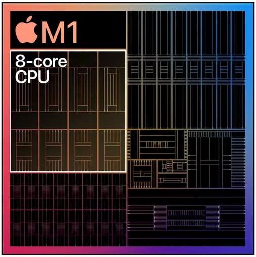 Apple M1 chip 8 CPU core 4 high performance core 4 efficiency core
