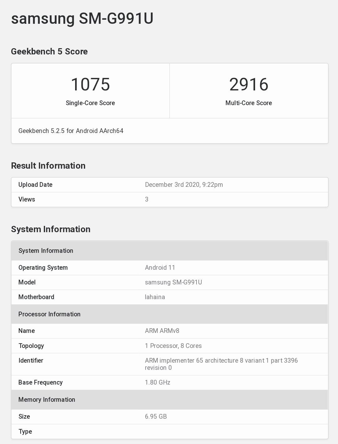 Samsung S21 Geekbench