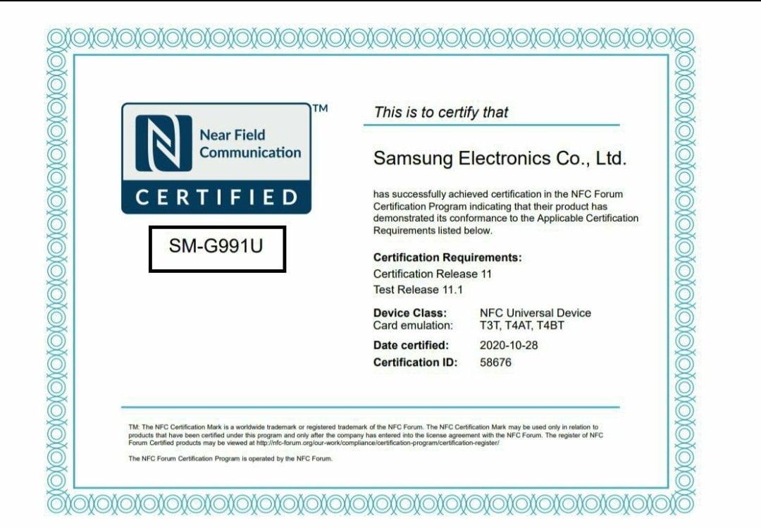 Samsung S21 NFC Certification